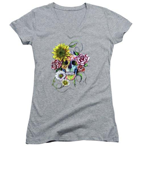 Skull And Flowers Women's V-Neck (Athletic Fit)
