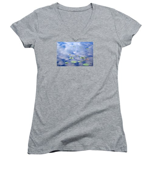 Sky And The Lily Pads Women's V-Neck (Athletic Fit)