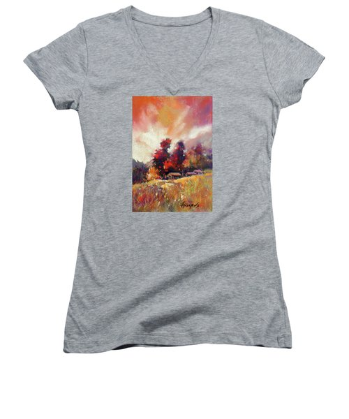 Sky Fall Women's V-Neck T-Shirt (Junior Cut) by Rae Andrews