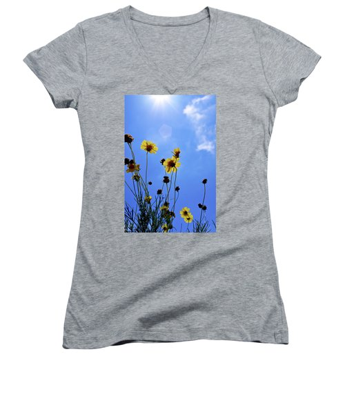 Sky Flowers Women's V-Neck