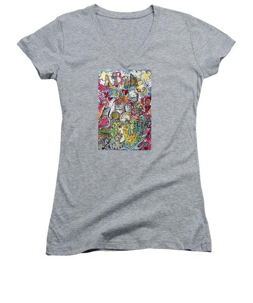 Sky Garden Women's V-Neck T-Shirt (Junior Cut) by Claudia Cole Meek