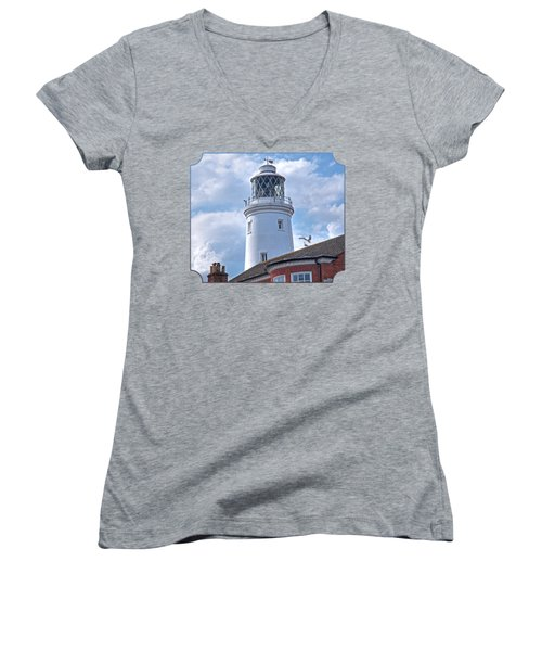 Sky High - Southwold Lighthouse Women's V-Neck T-Shirt (Junior Cut) by Gill Billington