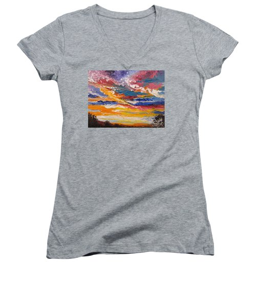 Women's V-Neck T-Shirt (Junior Cut) featuring the painting Sky In The Morning by Sigrid Tune