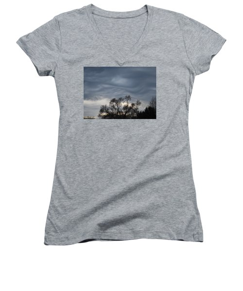 Women's V-Neck T-Shirt (Junior Cut) featuring the photograph Sky Of Ribbons by Ramona Whiteaker
