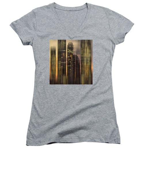 Sky Scrapers Women's V-Neck T-Shirt (Junior Cut) by Vladimir Kholostykh
