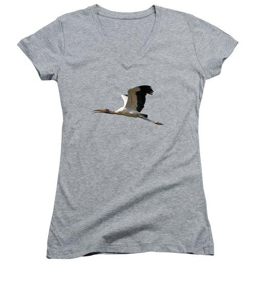 Sky Stork Digital Art .png Women's V-Neck T-Shirt (Junior Cut) by Al Powell Photography USA