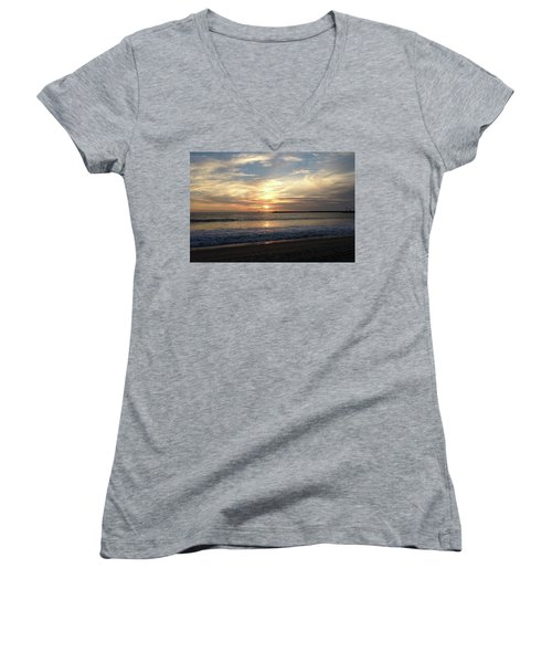 Women's V-Neck featuring the photograph Sky Swirls Over Toes Beach by Lorraine Devon Wilke