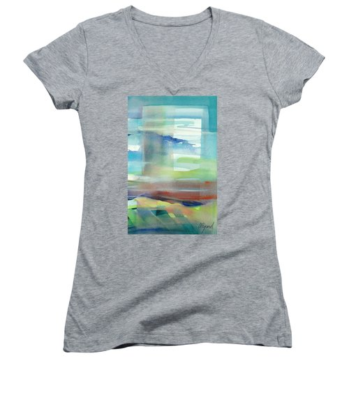 Women's V-Neck featuring the painting Sky Window 1 by Carolyn Utigard Thomas