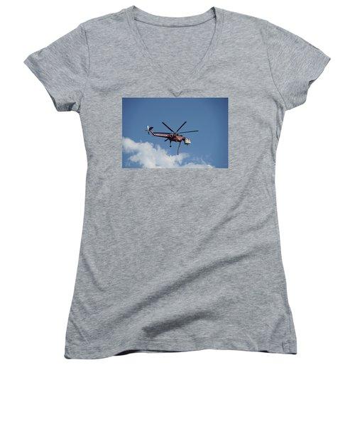 Skycrane Works The Red Canyon Fire Women's V-Neck T-Shirt (Junior Cut) by Bill Gabbert