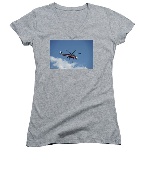 Skycrane Works The Red Canyon Fire Women's V-Neck (Athletic Fit)