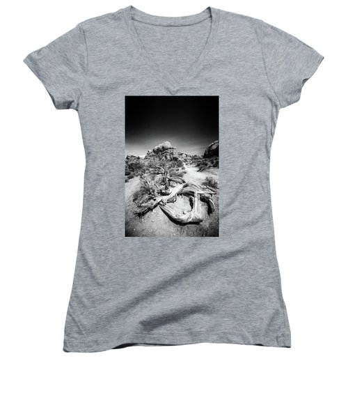 Skyline Arch In Arches National Park Women's V-Neck