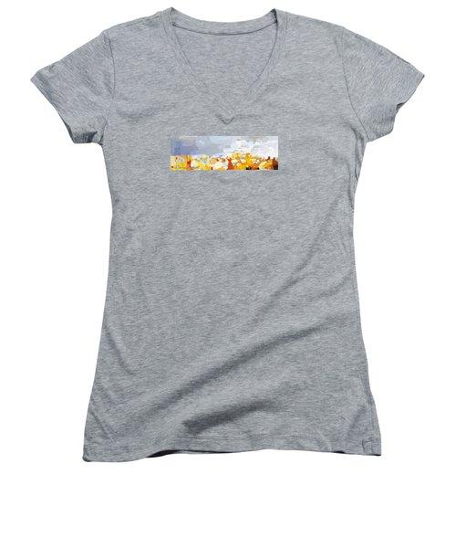 Skyline Cambridge, Uk Women's V-Neck T-Shirt (Junior Cut) by Melissa Abbott