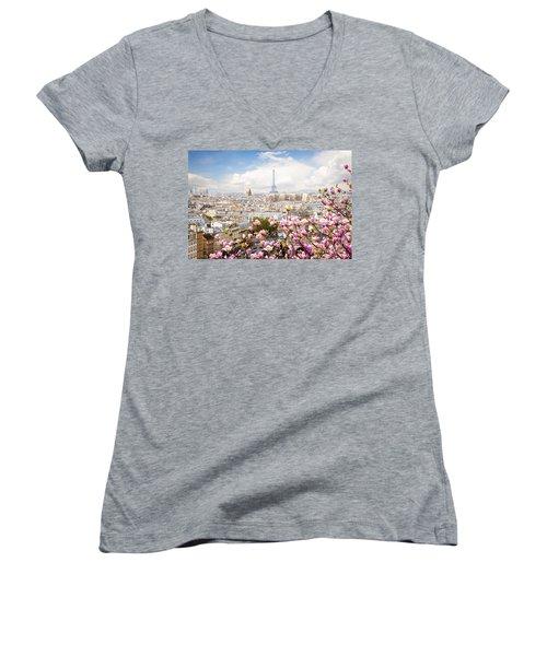 skyline of Paris with eiffel tower Women's V-Neck T-Shirt