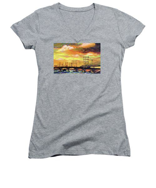 Skylines Women's V-Neck T-Shirt (Junior Cut) by Bonnie Lambert