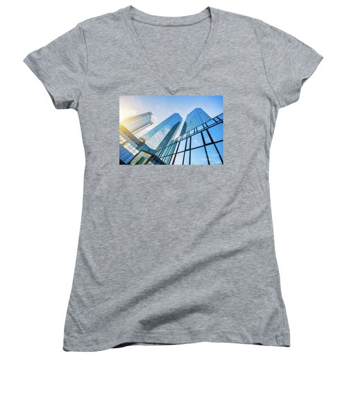 Skyscrapers Women's V-Neck T-Shirt (Junior Cut) by JR Photography