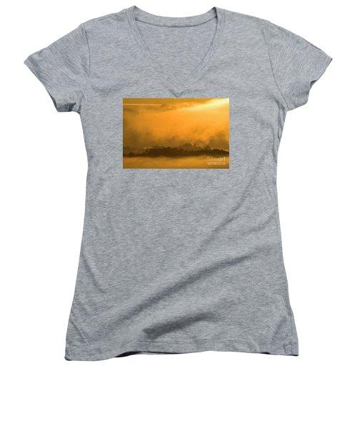 Women's V-Neck T-Shirt (Junior Cut) featuring the photograph sland in the Mist - D009994 by Daniel Dempster