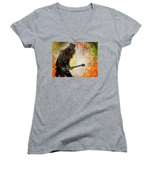 Slash - Guitarist Women's V-Neck (Athletic Fit)
