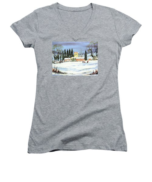 Sledding With Dad Women's V-Neck T-Shirt (Junior Cut) by Bill Holkham