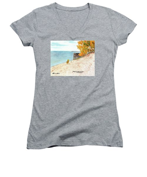 Sleeping Bear Dunes Women's V-Neck T-Shirt (Junior Cut) by LeAnne Sowa