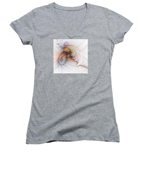 Women's V-Neck T-Shirt (Junior Cut) featuring the digital art Sleeping Beauties by Karin Kuhlmann