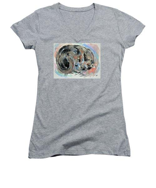 Women's V-Neck T-Shirt (Junior Cut) featuring the painting Sleeping Tortoiseshell Cat by Zaira Dzhaubaeva