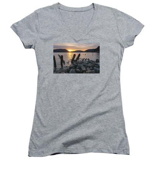 Sleepy Waterfront Dream Women's V-Neck T-Shirt (Junior Cut) by Angelo Marcialis
