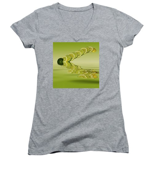 Women's V-Neck T-Shirt (Junior Cut) featuring the photograph Slices Lemon Lime Citrus Fruit by David French