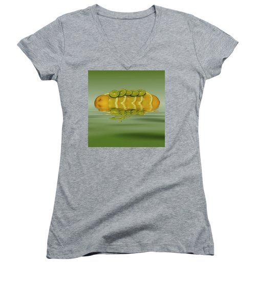 Women's V-Neck T-Shirt (Junior Cut) featuring the photograph Slices Orange Lime Citrus Fruit by David French