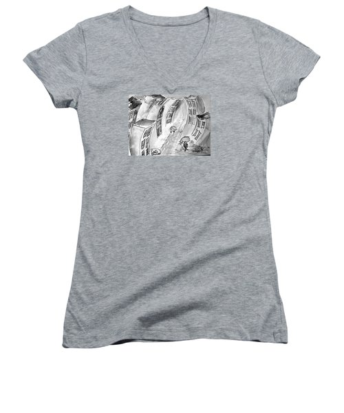 Women's V-Neck T-Shirt (Junior Cut) featuring the painting Slick City by Denise Tomasura