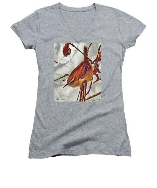 Slim Pickens, Carolina Wren Women's V-Neck T-Shirt (Junior Cut) by Ken Everett