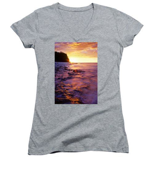 Slow Ocean Sunset Women's V-Neck