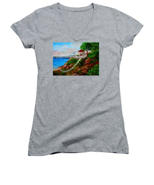 Small Church In Greece Women's V-Neck (Athletic Fit)