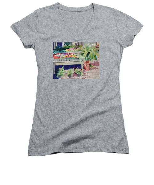 Small Garden Scene Women's V-Neck T-Shirt