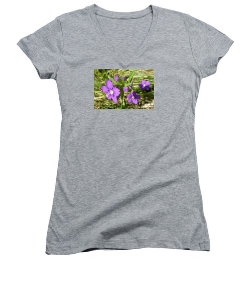 Women's V-Neck T-Shirt (Junior Cut) featuring the photograph Small Mauve Flowers by Jean Bernard Roussilhe