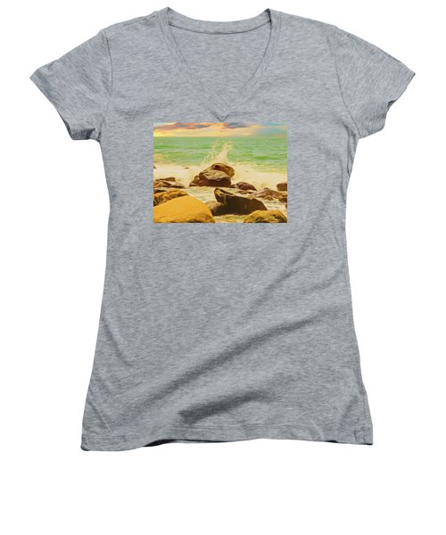 Small Ocean Waves,large Rocks. Women's V-Neck