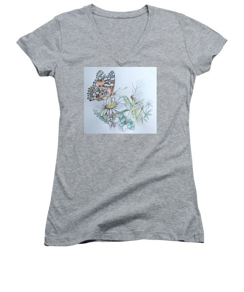 Women's V-Neck featuring the drawing Small Pleasures by Rose Legge