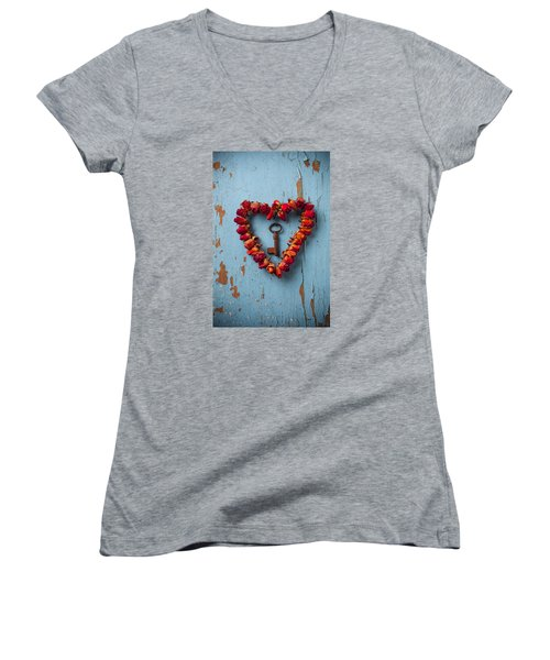 Small Rose Heart Wreath With Key Women's V-Neck T-Shirt (Junior Cut) by Garry Gay