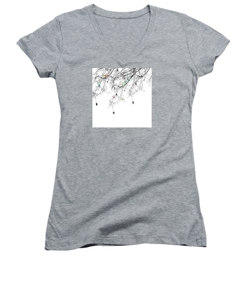 Women's V-Neck T-Shirt (Junior Cut) featuring the painting Small Talk by Trilby Cole