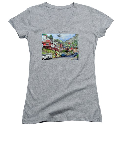 Small Town, America Women's V-Neck (Athletic Fit)