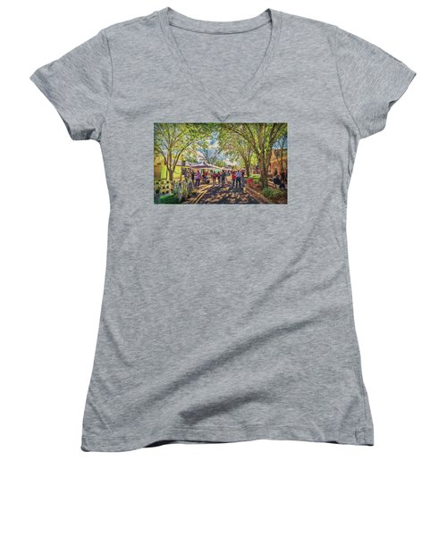 Women's V-Neck T-Shirt featuring the photograph Small Town Festival by Lewis Mann