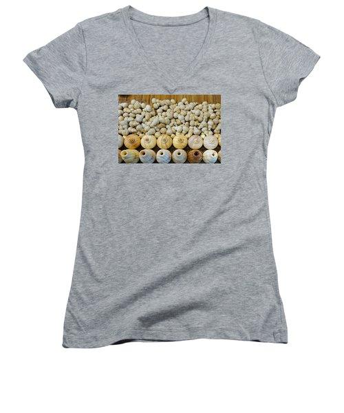 Small Wooden Flasks Women's V-Neck T-Shirt (Junior Cut) by Yali Shi