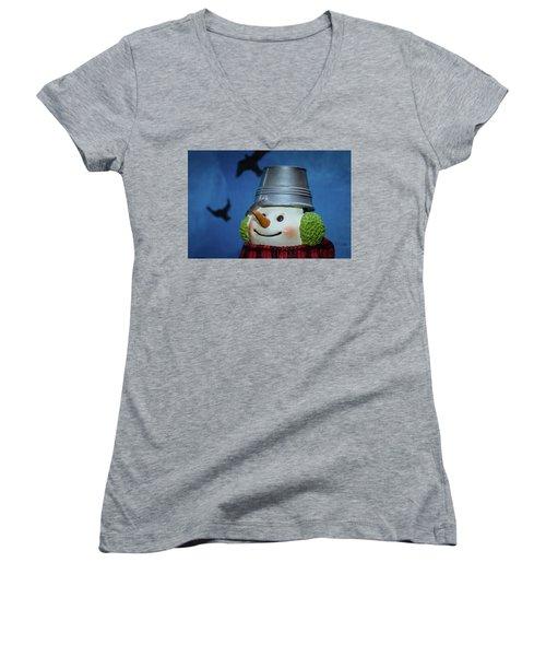 Smiling Snowman Women's V-Neck