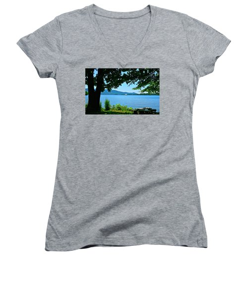 Smith Mountain Lake Sailor Women's V-Neck T-Shirt (Junior Cut) by The American Shutterbug Society