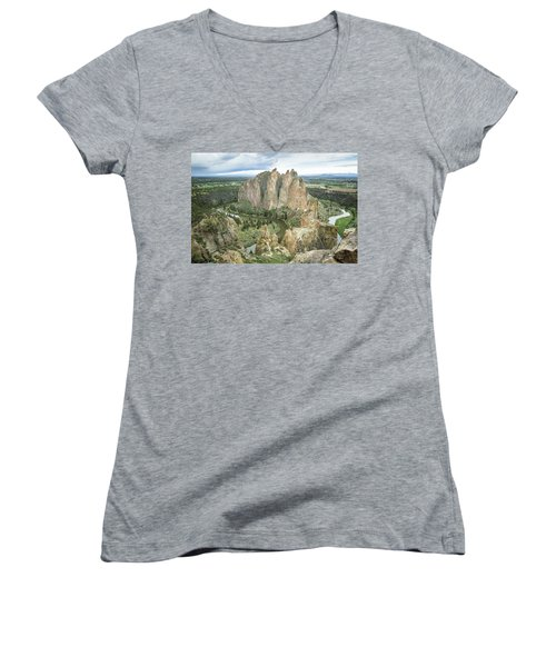 Smith Rock From Misery Ridge Women's V-Neck T-Shirt
