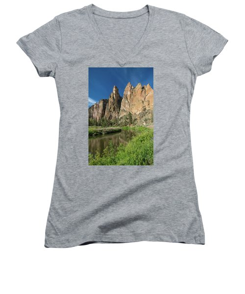 Women's V-Neck T-Shirt (Junior Cut) featuring the photograph Smith Rock Spires by Greg Nyquist