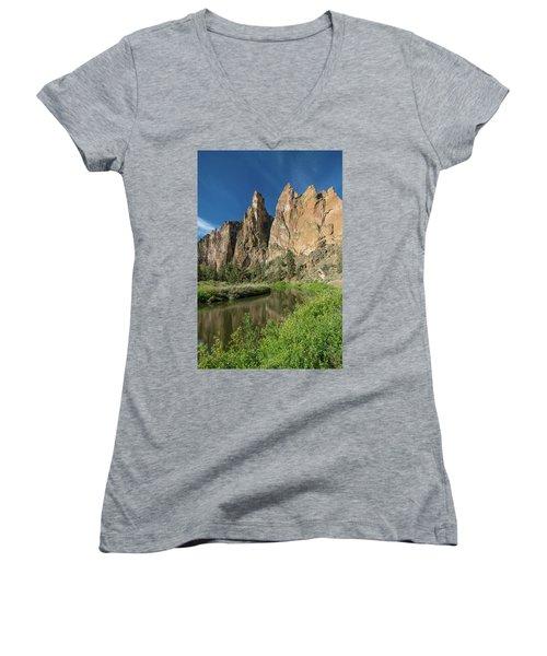 Smith Rock Spires Women's V-Neck T-Shirt (Junior Cut) by Greg Nyquist
