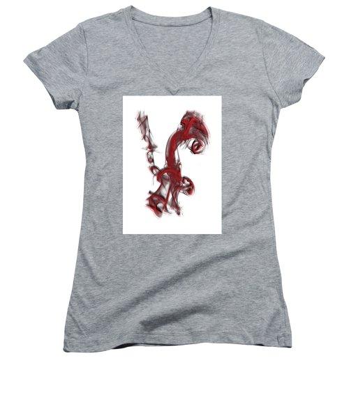 Smoke 01 Red Women's V-Neck T-Shirt