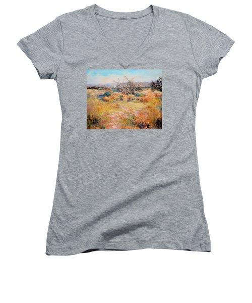 Smokey Day Women's V-Neck T-Shirt (Junior Cut) by M Diane Bonaparte