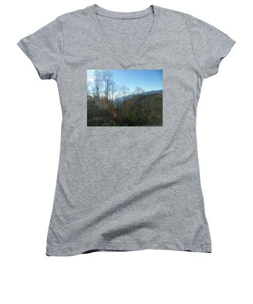 Smokies 15 Women's V-Neck T-Shirt (Junior Cut) by Val Oconnor