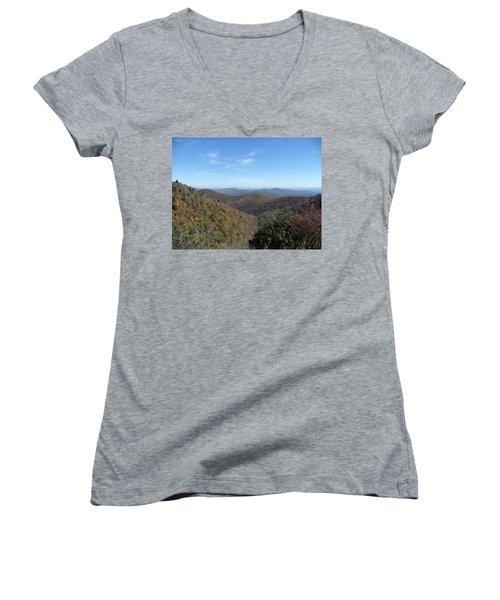 Smokies 6 Women's V-Neck T-Shirt (Junior Cut) by Val Oconnor